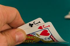 09 kortkort fyra stålar två arkivfoton