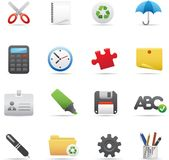09 Office Icons. Professional  set for your website, application, or presentation. The graphics can easily be edited color individually and be scaled to any size Royalty Free Stock Image