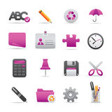 09 Purple Office Icons Stock Photography