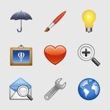 09 symboler inställd stylized rengöringsduk Arkivfoto