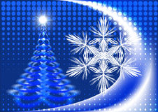 091012cb1. Pine tree and snowflake in front of abstract blue background Royalty Free Stock Photos