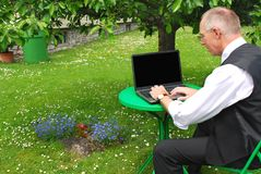 0ffice in the garden Royalty Free Stock Images