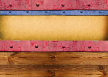0ld paper background on wood vintage board. With iron frame Royalty Free Stock Photography