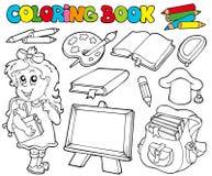 1个书着色学校主题 免版税库存图片