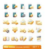 1个图标橙色系列集合万维网 库存照片