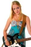 1个女孩吉他岩石 免版税库存照片