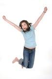 1个女孩跳的年轻人 库存照片