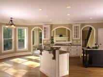 1个家庭小厨房豪华设计 免版税库存图片