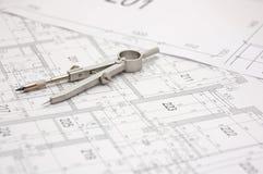 1个建筑计划 免版税库存照片