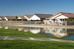 1个房子池塘 库存图片