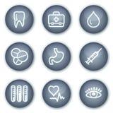 1个按钮圈子图标医学矿物集合万维网 免版税库存图片