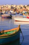 1个捕鱼marsaxlokk村庄 免版税库存照片