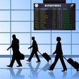 1个机场出发的乘客被设置 库存图片