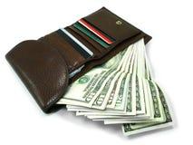 1个棕色钱包 库存图片