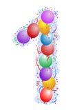 1个气球五彩纸屑编号 免版税库存图片