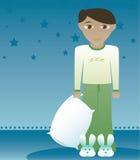 1个男孩兔宝宝喜欢拖鞋 库存照片