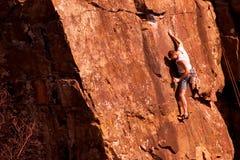 1个登山人岩石 图库摄影