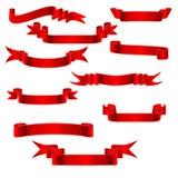 1个红色丝带v 库存照片