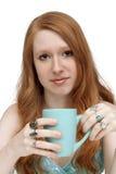 1个美丽的咖啡杯红头发人 库存照片