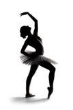 1个芭蕾舞女演员美丽的影子剪影 免版税库存照片