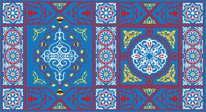 1个蓝色埃及织品模式帐篷 免版税库存照片