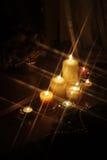 1个蜡烛闪耀的圣诞节 免版税库存照片