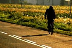 1个骑自行车者 免版税库存图片