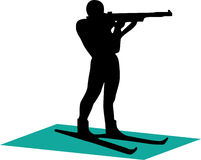 1个biathlonist剪影 免版税库存照片