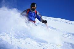 1个freeride滑雪者 图库摄影