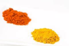 1五颜六色的咖喱辣椒粉堆 库存照片