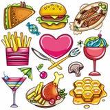1五颜六色的食物图标 库存图片