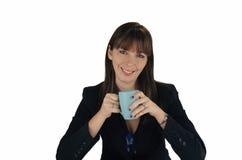 1份美丽的深色的女实业家咖啡 库存图片