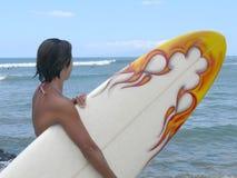 1位女孩冲浪者 免版税库存图片