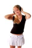 1副女孩耳机 免版税图库摄影