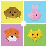 1动物顶头origami 库存例证