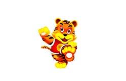 1只美丽的动画片老虎 免版税库存图片