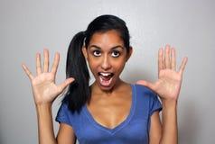 1名可笑表达式脸面护理妇女 库存图片