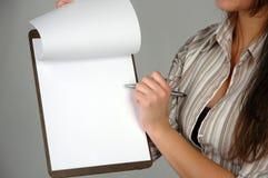 1名女实业家文件 免版税库存照片