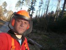 1名森林工作者 库存照片