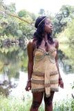 1名美丽的服装印第安佩带的妇女 库存照片