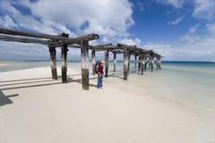 1名远足者码头妇女 免版税库存图片