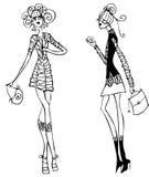 1名doodley方式女孩图标零件纹身花刺妇女 免版税库存照片