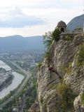 1在登山人法国格勒诺布尔岩石之上 库存图片