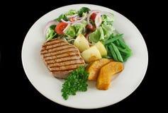 1块牛排蔬菜 免版税库存照片
