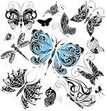 1大蝴蝶被设置的纹身花刺 免版税库存照片