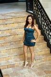 1层美丽的女孩楼梯 免版税图库摄影