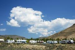 1座野营地山 库存图片