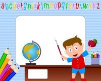 1所男孩框架照片学校 免版税图库摄影