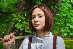 1把女孩剑 免版税库存图片