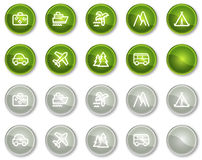 1按钮圈子绿色图标设置了旅行万维网 库存例证
